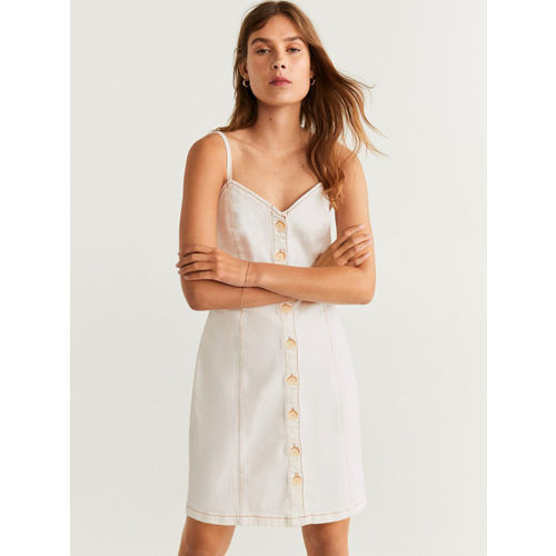 MANGO Women Off-White Solid Denim A-Line Dress