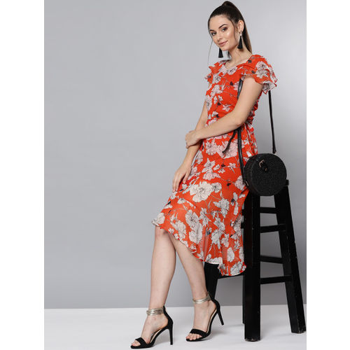 VividArtsy Women Coral Orange & Off-White Printed A-Line Dress