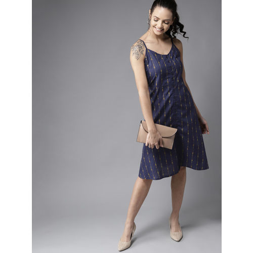 HERE&NOW Women Navy Blue & Yellow Striped A-Line Dress
