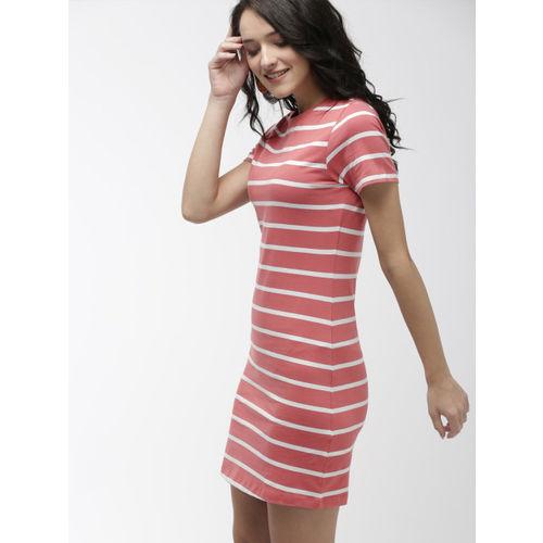 Mast & Harbour Women Pink & White Sheath Dress