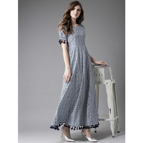 Moda Rapido Women White & Blue Printed Cotton Maxi Dress
