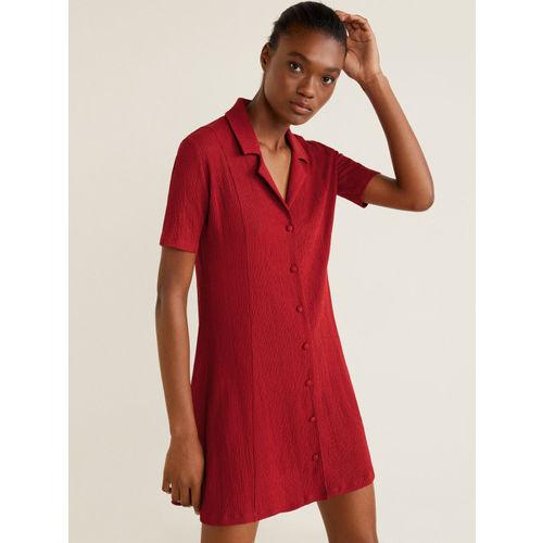 MANGO Women Maroon Solid Shirt Dress