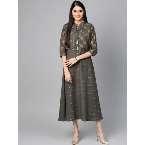 Shree Women Charcoal Grey & Golden Printed Maxi Dress