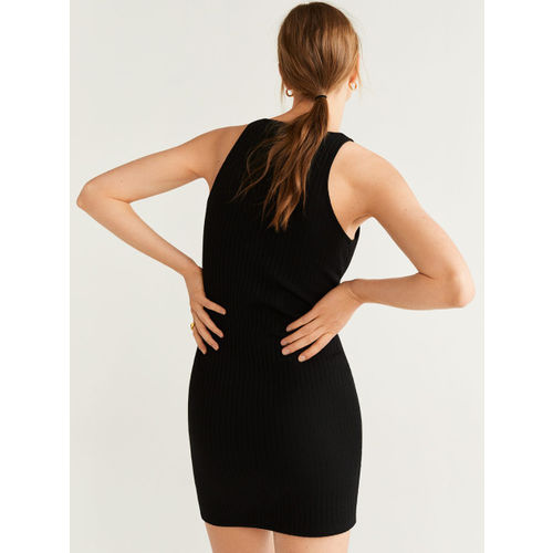 MANGO Women Black Ribbed Bodycon Dress