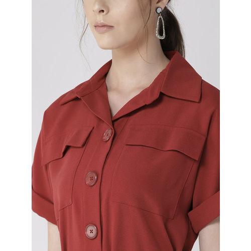 Marks & Spencer Women Rust Orange Shirt Dress with Belt