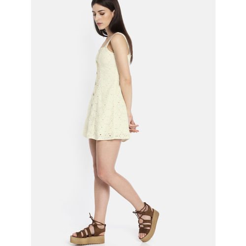 AMERICAN EAGLE OUTFITTERS Women Off-White Self Design A-Line Dress