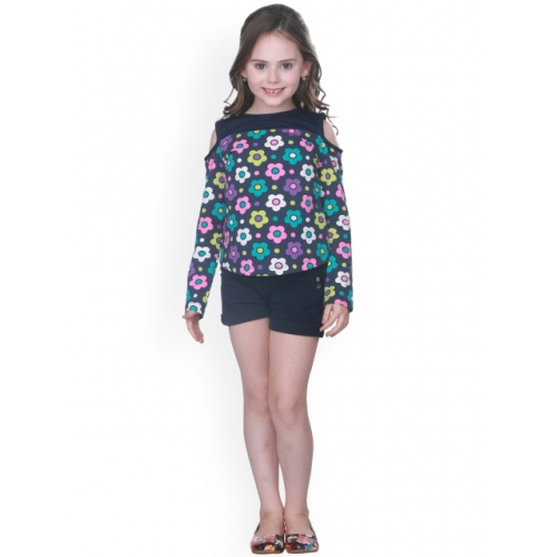 CUTECUMBER Navy Blue Polyester Embellished Top