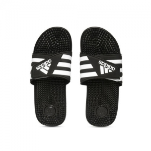 ADIDAS Unisex Black & White ADISSAGE Striped Sliders