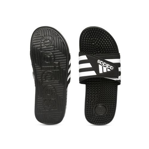 ADIDAS Unisex Black & White ADISSAGE Striped Sliders