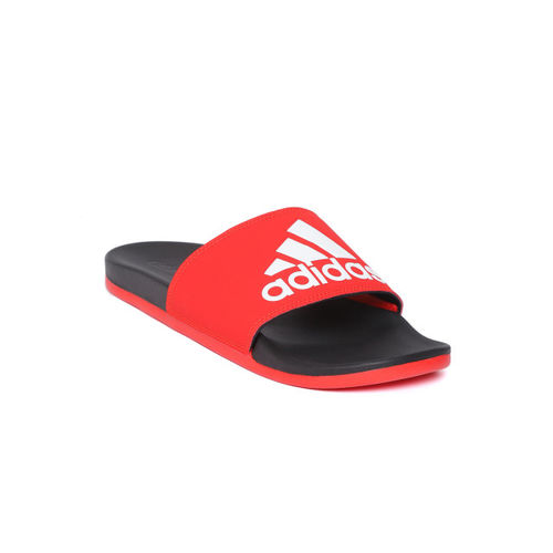 ADIDAS Men Red & Black Adilette Comfort Printed Sliders