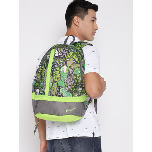 F Gear Unisex Green & Grey Graphic Laptop Backpack
