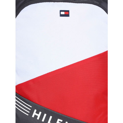 Tommy Hilfiger Unisex Grey & Red Colourblocked Backpack