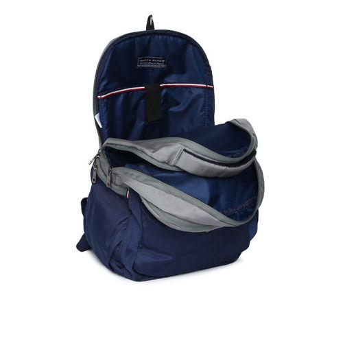 Tommy Hilfiger Unisex Grey & Navy Blue Colourblocked Backpack