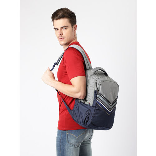 Tommy Hilfiger Unisex Grey & Navy Blue Colourblocked Backpack