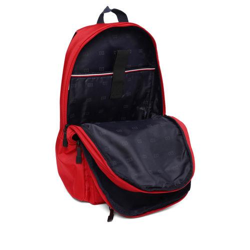 Tommy Hilfiger Unisex Red Solid Laptop Backpack