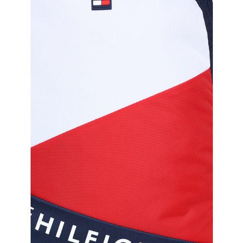 Tommy Hilfiger Unisex Navy Blue & White Colourblocked Backpack
