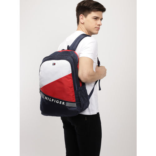 Tommy Hilfiger Unisex Navy Blue & White Colourblocked Backpack