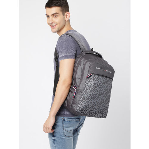 Tommy Hilfiger Unisex Grey Typography Backpack