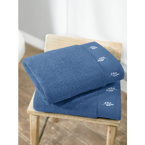 Swiss Republic Set of 2 Blue Solid 700GSM Bath Towels