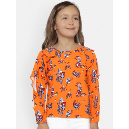 United Colors of Benetton Orange Viscose Floral Print Top