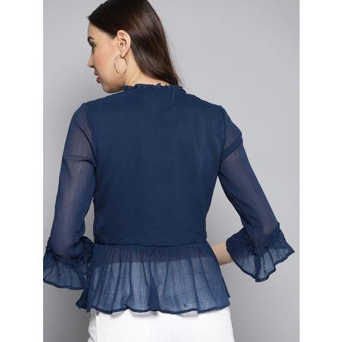 Carlton London Women Navy Blue Solid A-Line Top