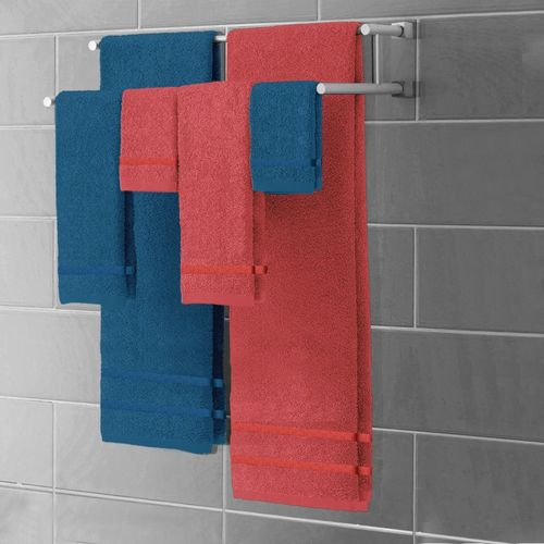 Story@Home Terry 450 GSM Bath Towel Set(Pack of 3, Red, Blue)