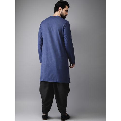 Anouk Men Navy & Black Solid Layered Kurta with Dhoti Pants