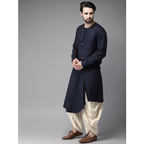 Anouk Men Navy Blue & Off-White Solid Kurta with Dhoti Pants