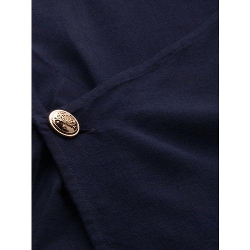 Anouk Men Navy Blue & White Kurta Set