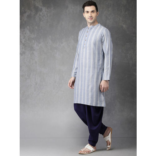 Anouk Men Blue & Off-White Striped Kurta with Dhoti Pants