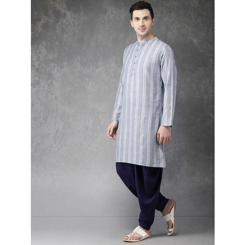 Anouk Men Blue & Off-White Striped Kurta with Dhoti Pants
