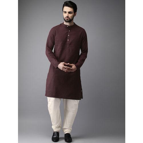 Anouk Men Black & Red Self Design Kurta with Pyjamas