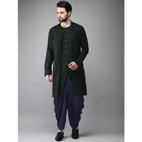 Anouk Men Black & Navy Solid Layered Kurta with Dhoti Pants
