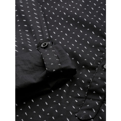 Anouk Men Black & White Printed Straight Short Kurta