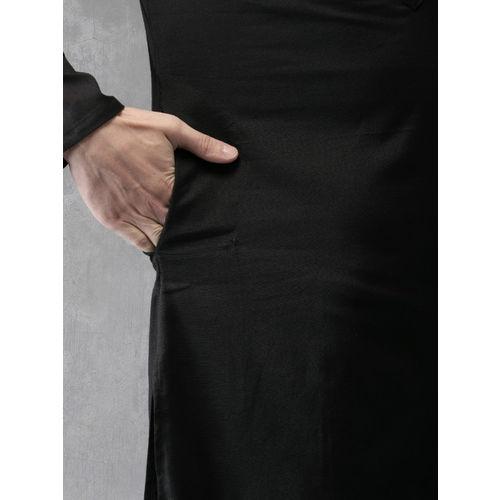 Anouk Men Black Solid Straight Kurta