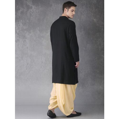 Anouk Men Black & Beige Solid Kurta with Dhoti Pants