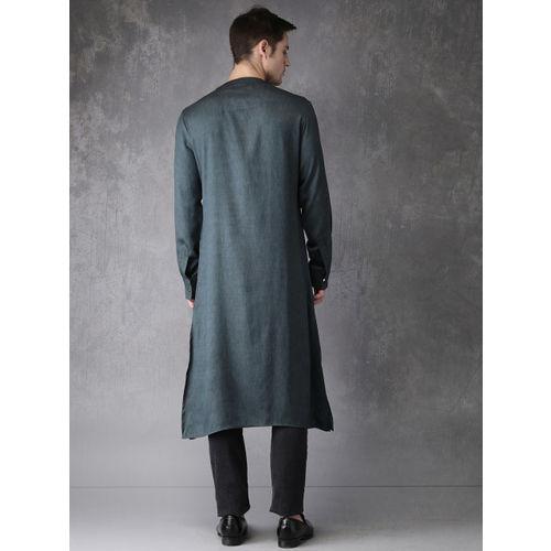 Anouk Men Grey Solid Straight Kurta