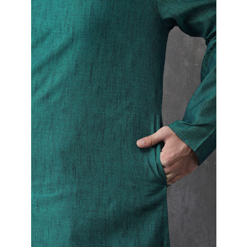 Anouk Men Green Solid Straight Kurta