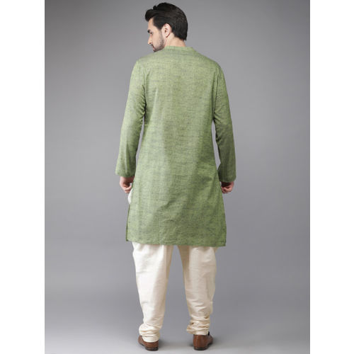 Anouk Men Green & Cream-Coloured Self-Design Kurta with Churidar