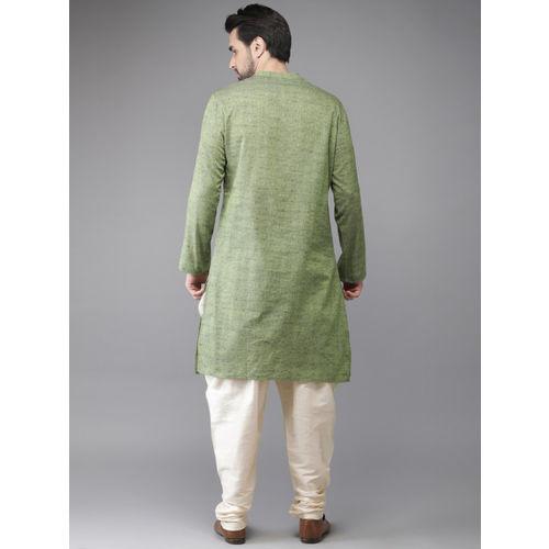 Anouk Men Green & Cream-Coloured Self-Design Kurta with Churidar