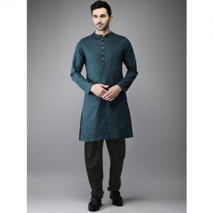 Anouk Men Green & Black Self Design Kurta with Churidar