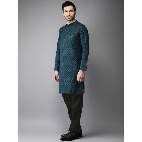 Anouk Men Green & Black Self Design Kurta with Churidar