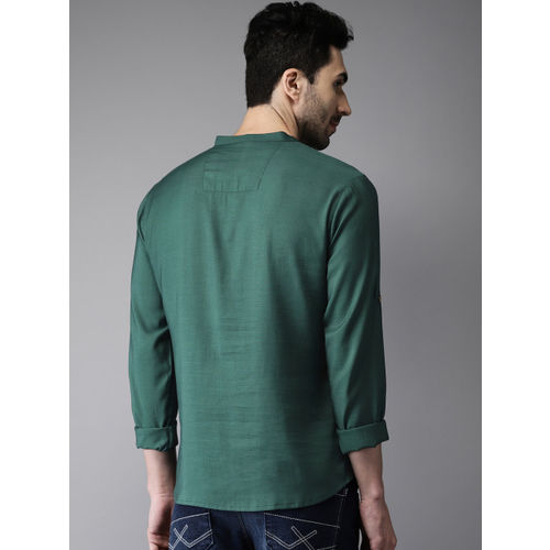 Anouk Men Green Solid Straight Short Kurta