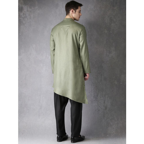 Anouk Men Green & Black Solid Straight Kurta Set