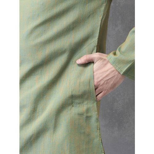 Anouk Men Green Solid Straight Kurta