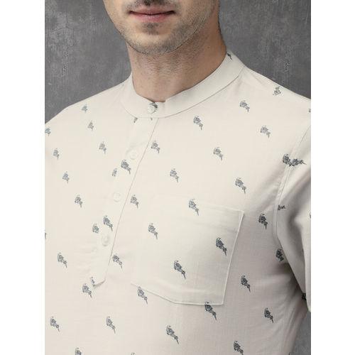 Anouk Men White Printed Straight Kurta