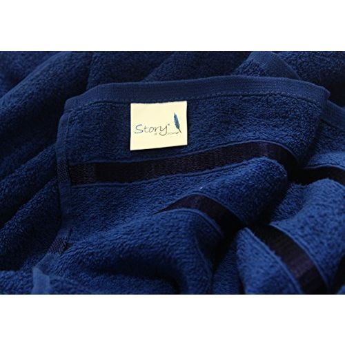 Story@Home 100% Cotton 4 Piece Hand Towel Set, 60 x 40 cm, 400 GSM, Navy Blue and Yellow