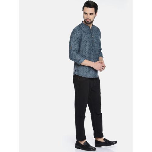 Anouk Men Blue & Black Printed Straight Kurta
