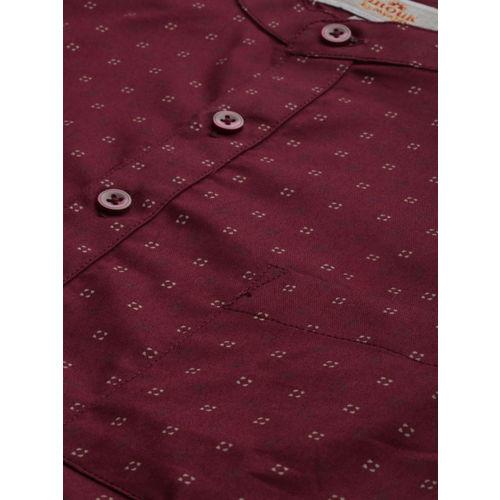 Anouk Men Maroon & Beige Printed Straight Short Kurta