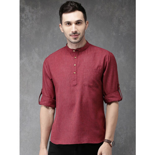 Anouk Men Maroon Woven Design Straight Kurta